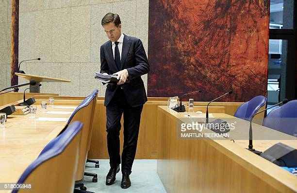 Dutch Prime Minister Mark Rutte is pictured prior to a debate on the Brussels attacks at the Second Chamber in The Hague on March 29 2016 / AFP / ANP...