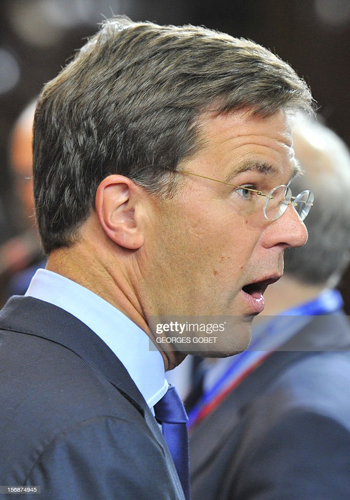Dutch Prime Minister Mark Rutte leaves the EU Headquarters, on November 23, 2012 in Brussels, after a two-day European Union leaders summit called to agree a hotly-contested trillion-euro budget through 2020. EU Council President Herman Van Rompuy said today that an EU budget deal was within reach early next year, after a two-day summit collapsed without agreement.