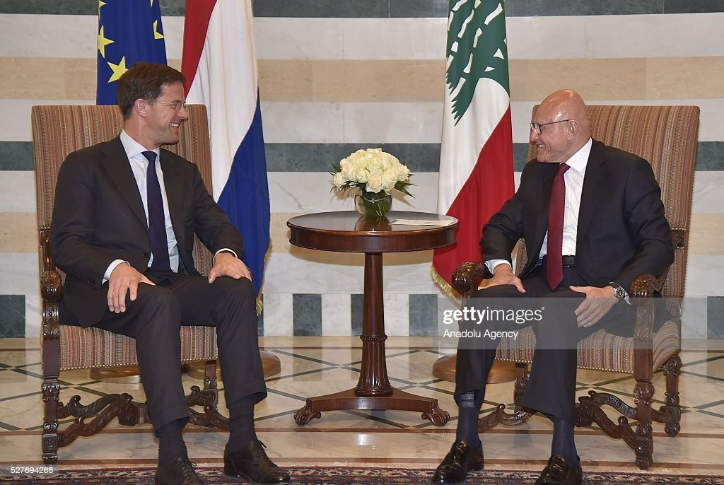 Dutch Prime Minister Mark Rutte (L) meets the Lebanese Prime Minister Tammam Salam during his official visit in Beirut, Lebanon on May 3, 2016.