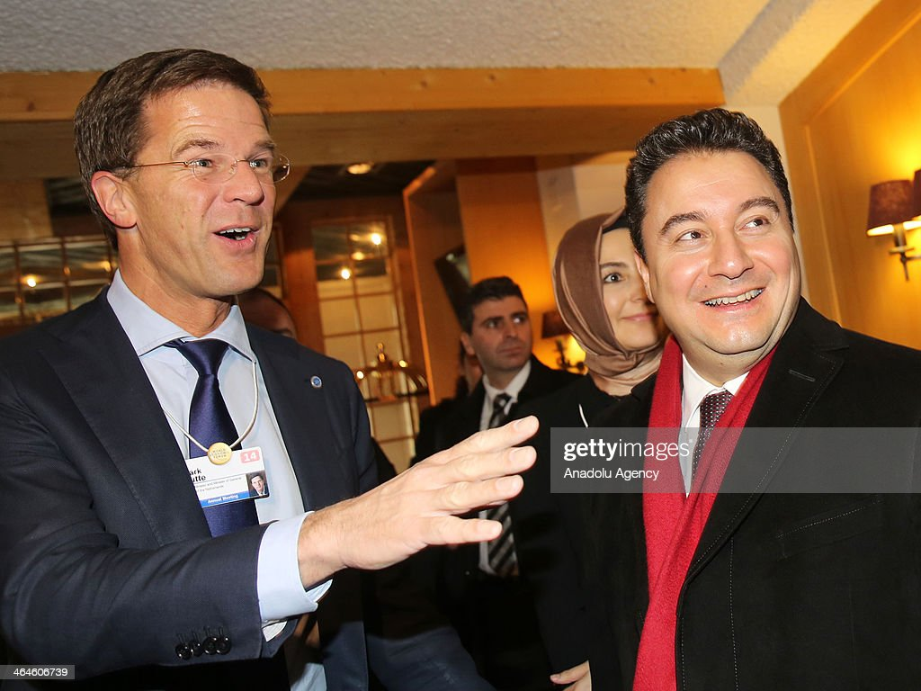 Dutch Prime Minister Mark Rutte meets with Turkish Deputy Prime Minister Ali Babacan on the second day of the World Economic Forum in Davos...