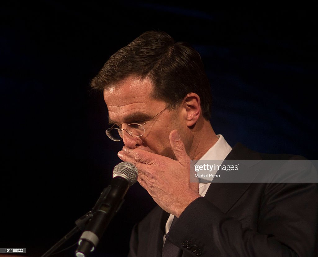 Dutch Prime Minister Mark Rutte pauses during his speech at Dam Square during a gathering to remember the victims of the terrorist attack in Paris on...