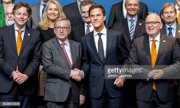 Maurits Hendriks Netherlands Prime Minister Mark Rutte L: Dutch Prime Minister Mark Rutte (2nd R), Shakes Hands With