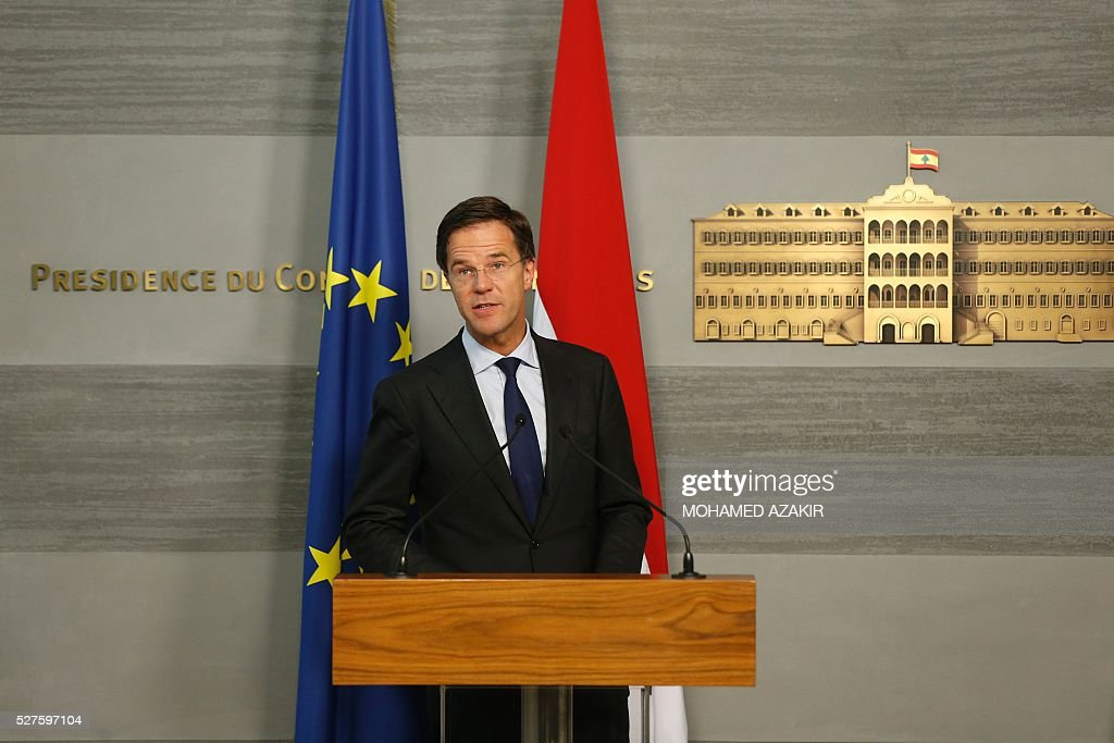 Dutch Prime Minister Mark Rutte speaks during a press conference with Lebanese Prime Minister at the government palace in downtown Beirut, on May 3, 2016. / AFP / POOL / MOHAMED