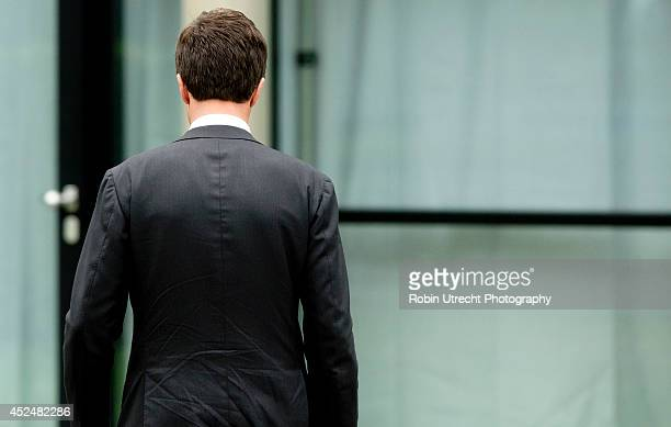 Dutch Prime Minister Mark Rutte speaks to the media at the Congresscentrum Utrecht after meeting relatives of the victims of Malaysia Airlines flight...