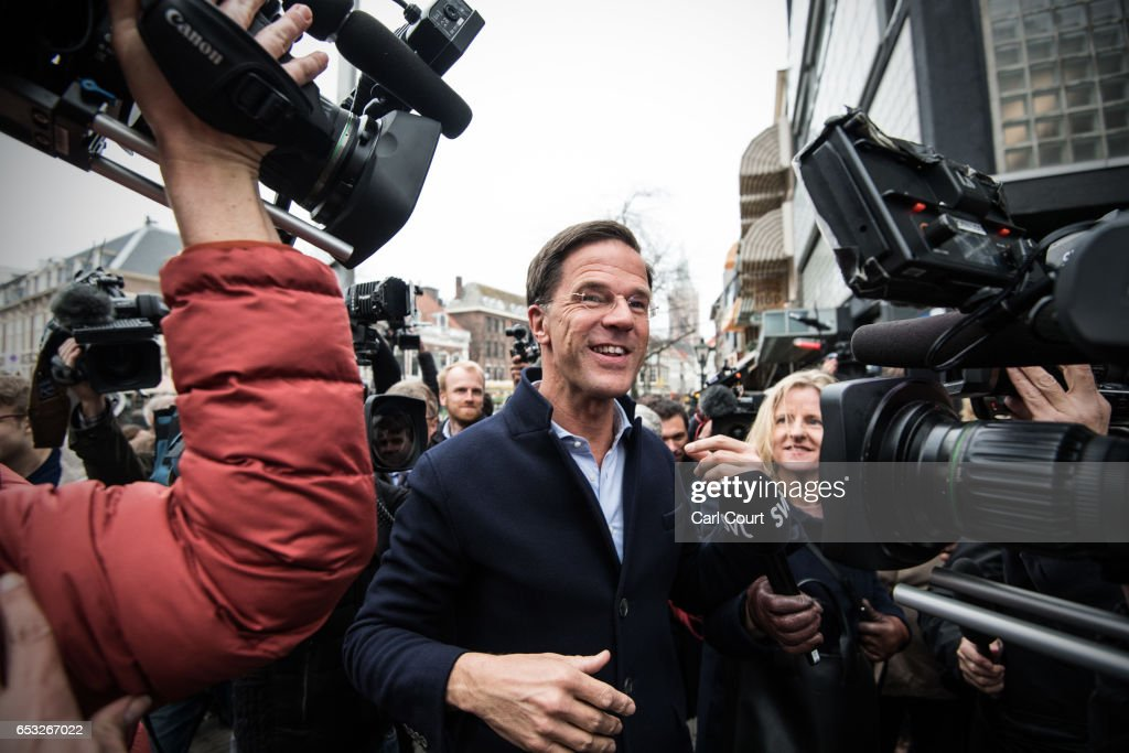 Dutch Prime Minister Mark Rutte speaks to the public and the media as he campaigns ahead of tomorrow's general election, on March 14, 2017 in The Hague, Netherlands. Campaigning is continuing by all parties ahead of tomorrow's general election in which the right-wing Party for Freedom (PVV), led by Geert Wilders, is expected to do well.