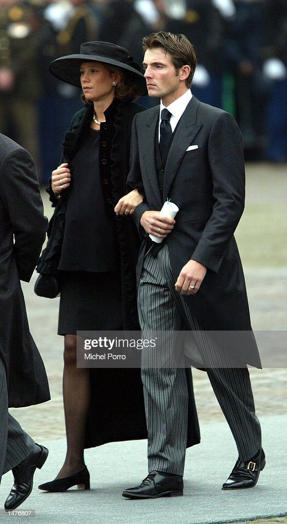 Dutch Prince Maurits and Princess Marilene arrive for the funeral ceremony of Prince Claus of the Netherlands at the Nieuwe Kerk church October 15, 2002 in Delft, Netherlands. Prince Claus, husband to Queen Beatrix, died October 6, 2002 after a long battle with Parkinson's disease and pneumonia.
