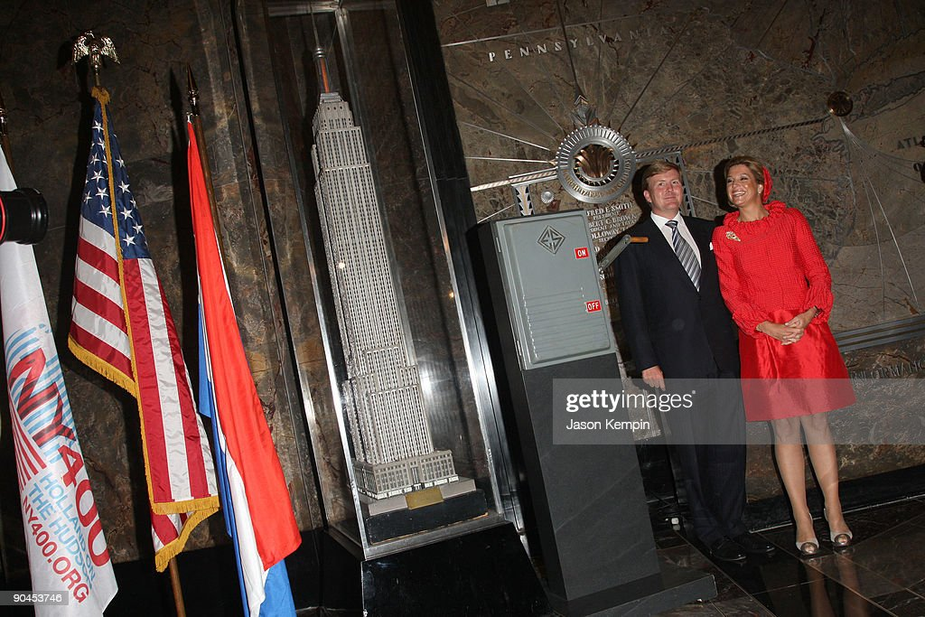 Dutch Prince Willem-Alexander and Princess Maxima of the Netherlands attend the launch of NY400 at The Empire State Building on September 8, 2009 in New York City.