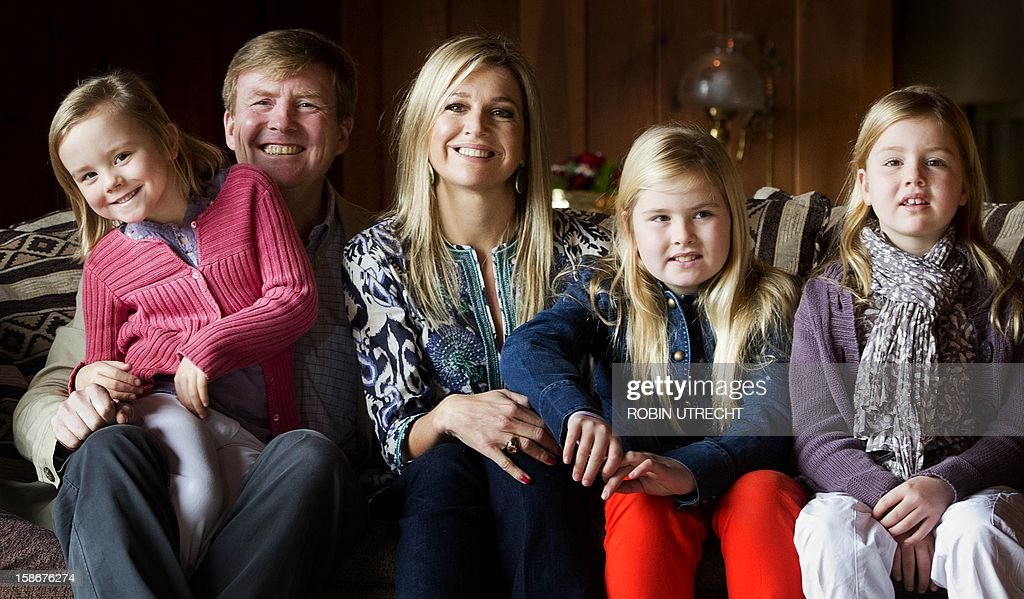 Dutch Prince Willem-Alexander and Princess Maxima pose for a photograph with their children (From L to R) Princess Ariane, Princess Amalia and Princess Alexia, during a photo shoot at El Messidor, the residence of the governor of the province of Neuquen, in Villa la Angustura, Argentina, on December 23, 2012. The royal couple is spending the Christmas holidays with friends and family in Argentina.