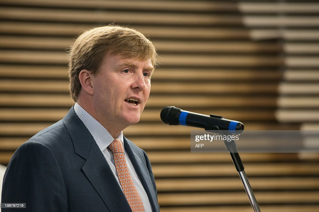 Dutch Prince Willem-Alexander gives a speach during the seminar 'Bioeconomy: the Dutch innovating knowledge and system' at the Federation of Industries of Sao Paulo State (FIESP) in Sao Paulo, Brazil on November 21, 2012. AFP PHOTO/Yasuyoshi CHIBA