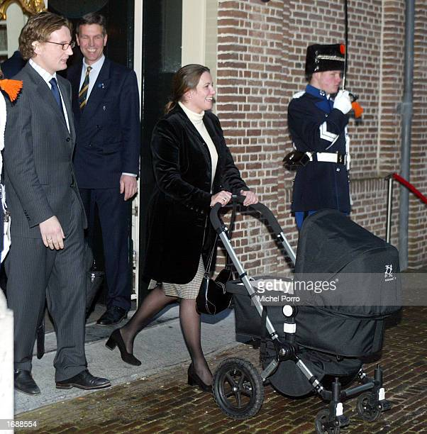 Dutch Princess Annette her husband Prince Bernard and their daughter Isabella leave christening ceremony of Princess Eloise Sophie Beatrix Laurence...