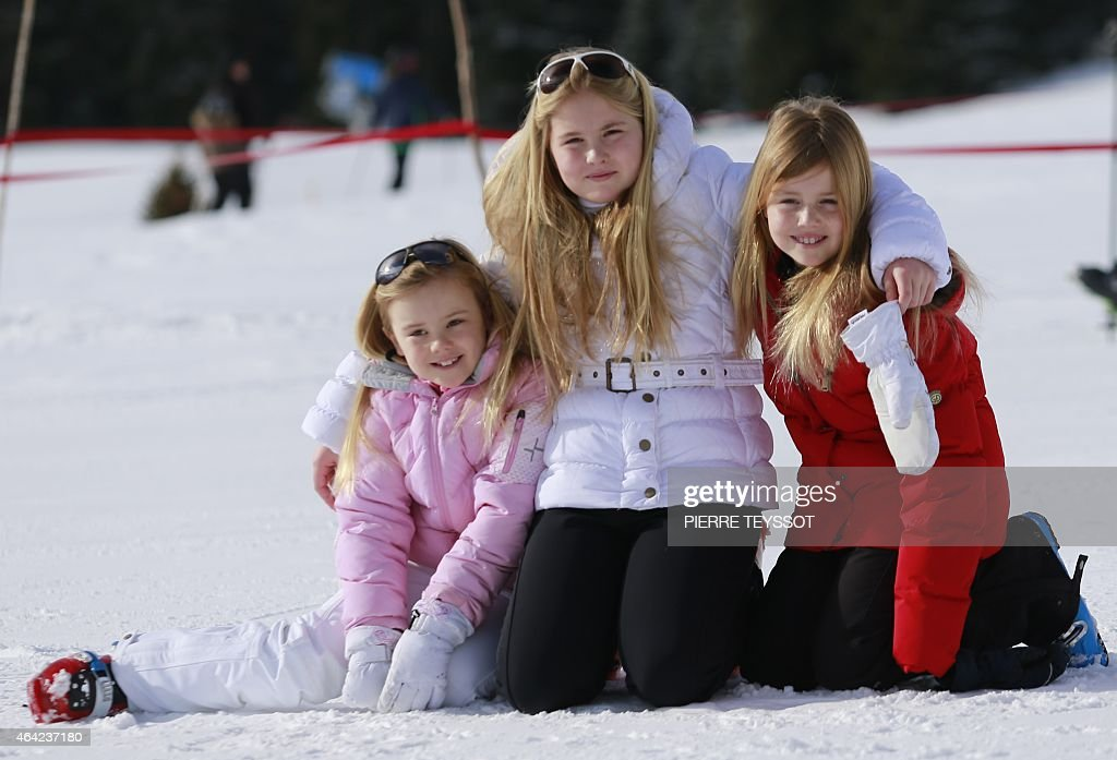, Dutch Princess Ariane, <a gi-track='captionPersonalityLinkClicked' href=/galleries/search?phrase=Princess+Catharina-Amalia&family=editorial&specificpeople=765983 ng-click='$event.stopPropagation()'>Princess Catharina-Amalia</a> and Princess Alexia pose at a photocall during their ski holidays, in Lech am Arlberg, Austria on February 23, 2015.