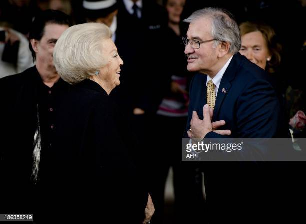 Dutch Princess Beatrix and host Zoni Weisz talk during a visit to the European Roma and Sinti project 'Requiem for Auschwitz' in Tilburg The...