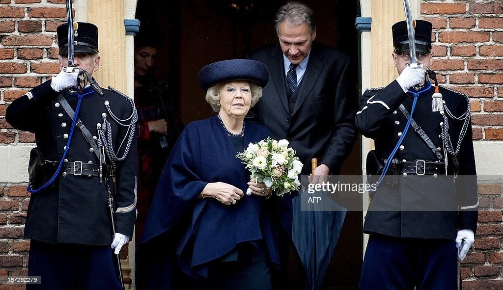 Dutch Princess Beatrix attends the 400th anniversary of the Weeshuis (Orphanage) in Buren, The Netherlands, on November 7, 2013. The former orphanage, now a militairy police museum, was founded by Maria van Nassau, daughter of Willem van Oranje (William I, Prince of Orange) in 1613. AFP PHOTO/ANP KOEN VAN WEEL netherlands out