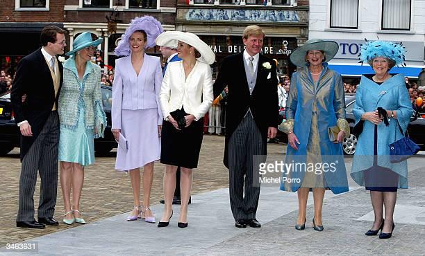 Dutch Prince Constantijn Princess Laurentien sister of the bride Caroline Wisse Smit Princess Maxima Dutch Crown Prince Willem Alexander mother of...