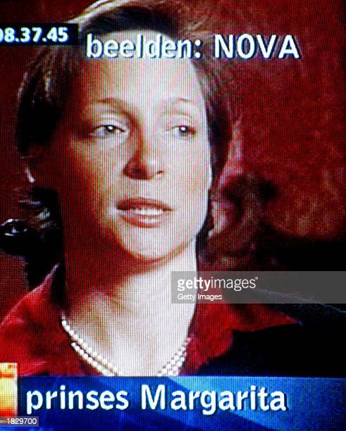 Dutch Princess Margarita daughter to Princess Irene gives an interview from an undisclosed location to the Dutch television program NOVA and appears...