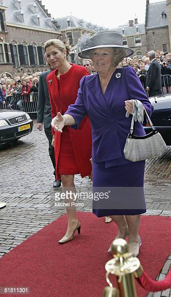 Dutch Princess Maxima and Queen Beatrix arrive before Maxima would take seat for the first time in the 'Raad van State' the advisory body to the...