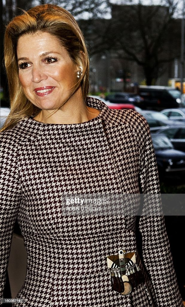 Dutch Princess Maxima arrives to speak at the Feeding the World summit, a conference on how to accelerate progress in coordinating efforts to tackle the planet's food security crisis, in Amsterdam, on January 30, 2013. netherlands out