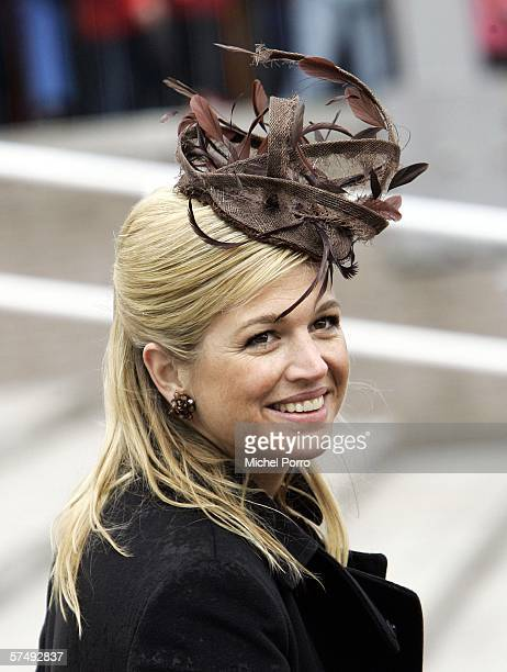 Dutch Princess Maxima attends the traditional Queens Day celebratins on April 29 2006 in Zeewolde The Netherlands Queen Beatrix and several members...