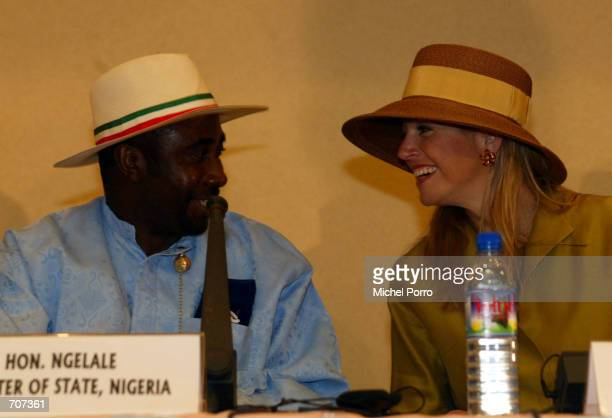 Dutch Princess Maxima chats with Nigerian Minister of State Ngelale at the opening of the Water Conference April 15 2002 in Accra Ghana Dutch Crown...