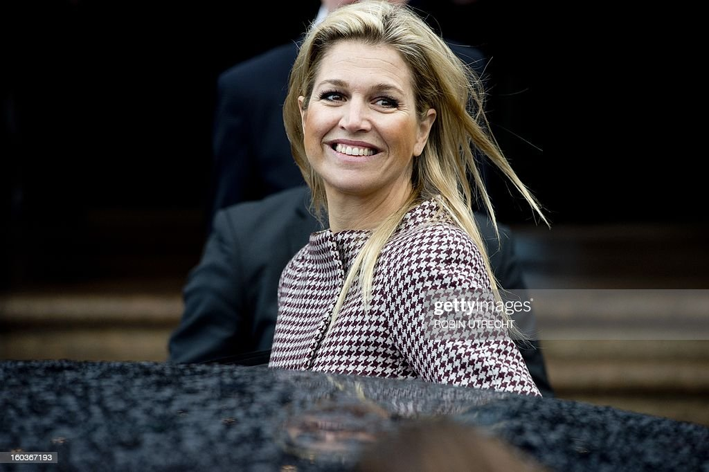Dutch Princess Maxima leaves after speaking at the Feeding the World summit, a conference on how to accelerate progress in coordinating efforts to tackle the planet's food security crisis, in Amsterdam, on January 30, 2013. netherlands out