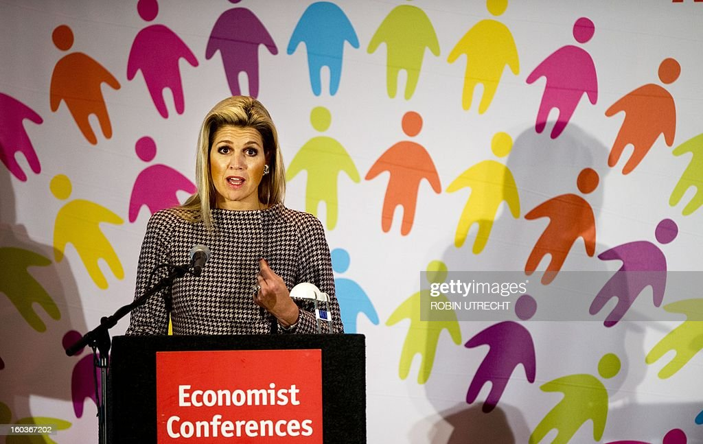 Dutch Princess Maxima speaks at the Feeding the World summit, a conference on how to accelerate progress in coordinating efforts to tackle the planet's food security crisis, in Amsterdam, on January 30, 2013. AFP PHOTO / ANP ROBIN UTRECHT netherlands out
