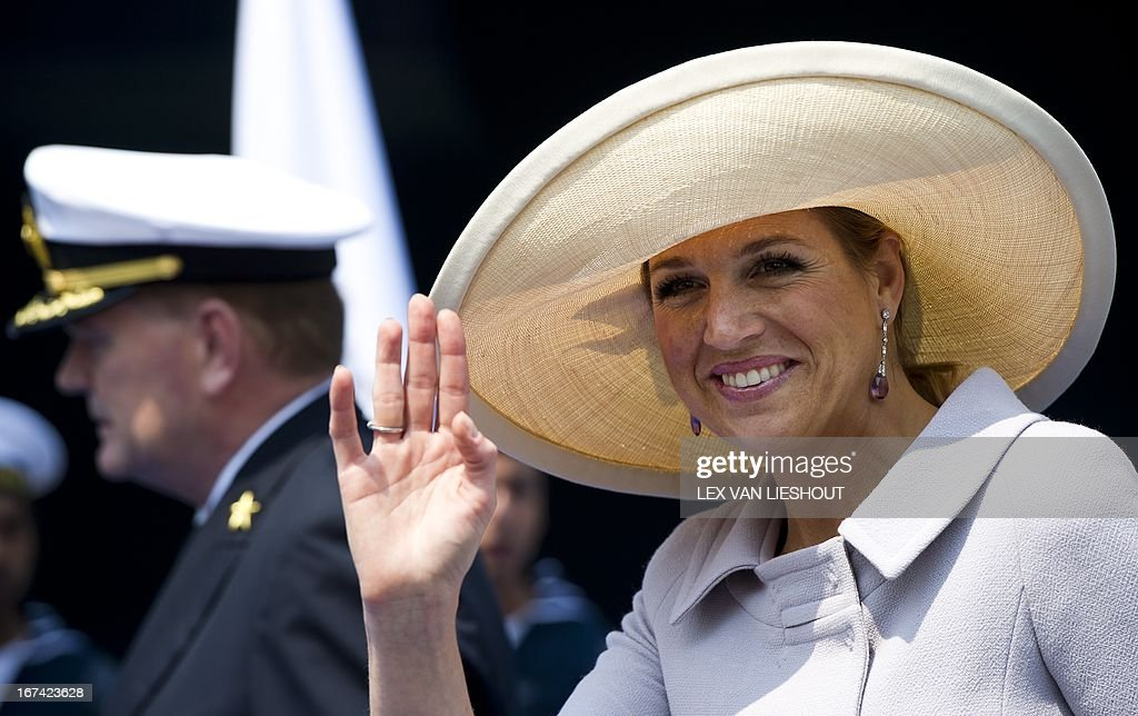 Dutch princess Maxima waves to the crowd on July 4th in Venice, Italy, where she baptised the cruiseship ms Nieuw Amsterdam of the Holland America Line. The ship, built in Venice, will start its maiden voyage after the baptism. AFP PHOTO / ANP / LEX VAN LIESHOUT netherlands out - belgium out
