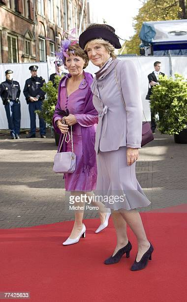 Dutch Princesses Margriet and Irene arrive at the Kloosterkerk for the christening ceremony of Princess Ariane on October 20 2007 in The Hague The...