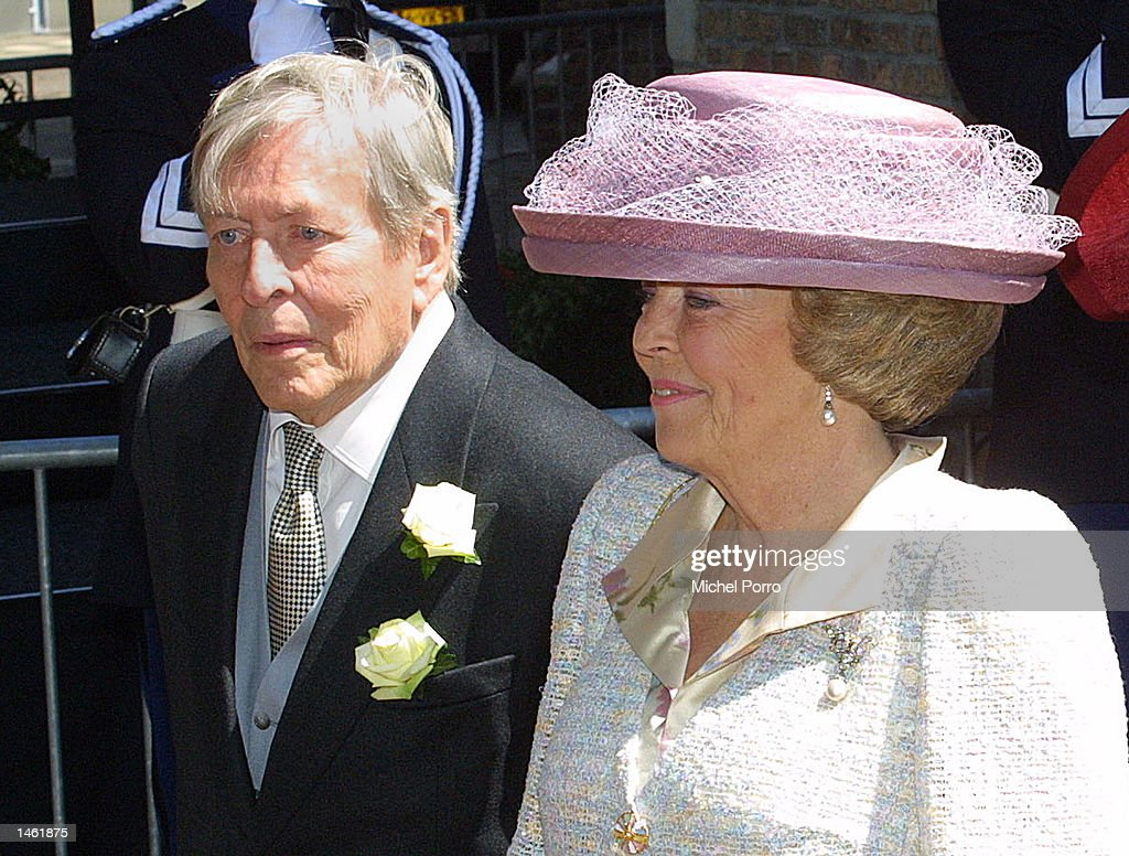 Dutch Queen Beatrix and her husband, Prince Claus, attend the wedding of Prince Constantijn and Laurentien Brinkhorst May 19, 2001 in the Hague, Netherlands. The 76-year-old prince died October 6, 2002 in an Amsterdam hospital earlier today. Prince Claus had been in ill-health for many years.