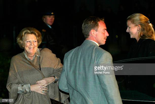 Dutch Queen Beatrix and Mabel Wisse Smit arrive at the Bronovo Hospital to visit Princess Maxima who gave birth to a daughter December 7 2003 in The...