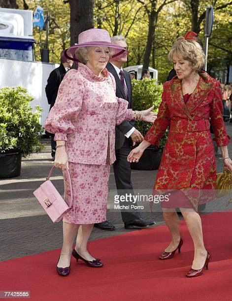 Dutch Queen Beatrix and Maria Carmen Cerruti Zorreguieta mother of Dutch Princess Maxima arrive at the Kloosterkerk for the christening ceremony of...