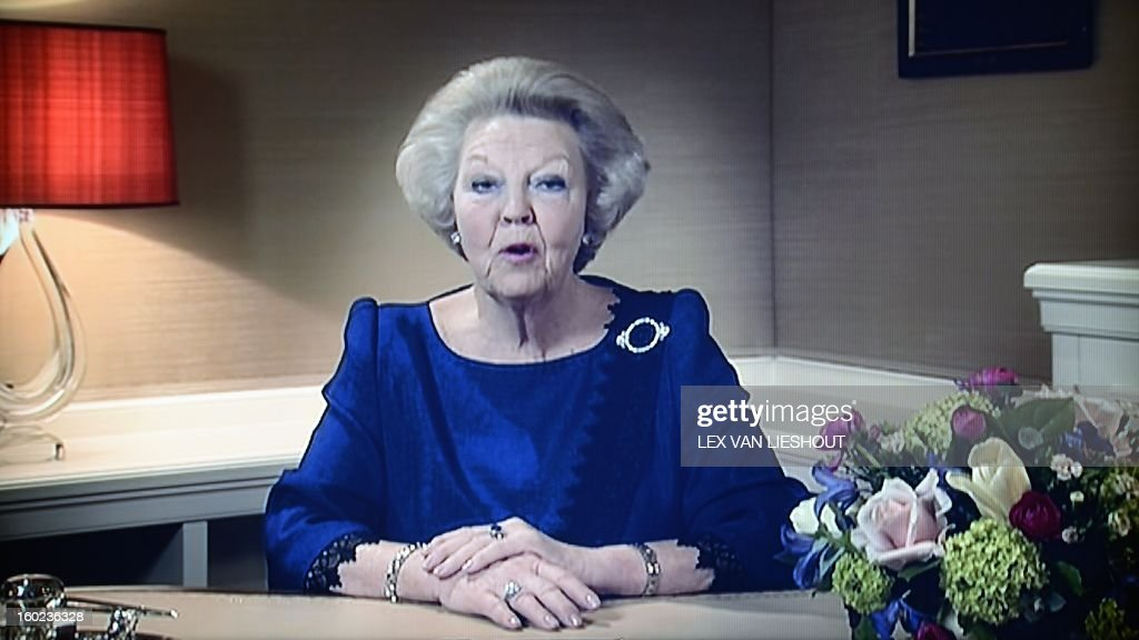 Dutch Queen Beatrix announces her abdication on television on January 28, 2013. Queen Beatrix of the Netherlands announced on January 28, 2013 that she would abdicate in favour of her son Crown Prince Willem Alexander at the end of April, after 33 years in power. The queen, who is to turn 75 on Thursday, told national television that her birthday and the 200-year anniversary of the monarchy in 2013 'were the reason for me to step down.' AFP PHOTO / ANP / ROYAL IMAGES LEX VAN LIESHOUT netherlands out