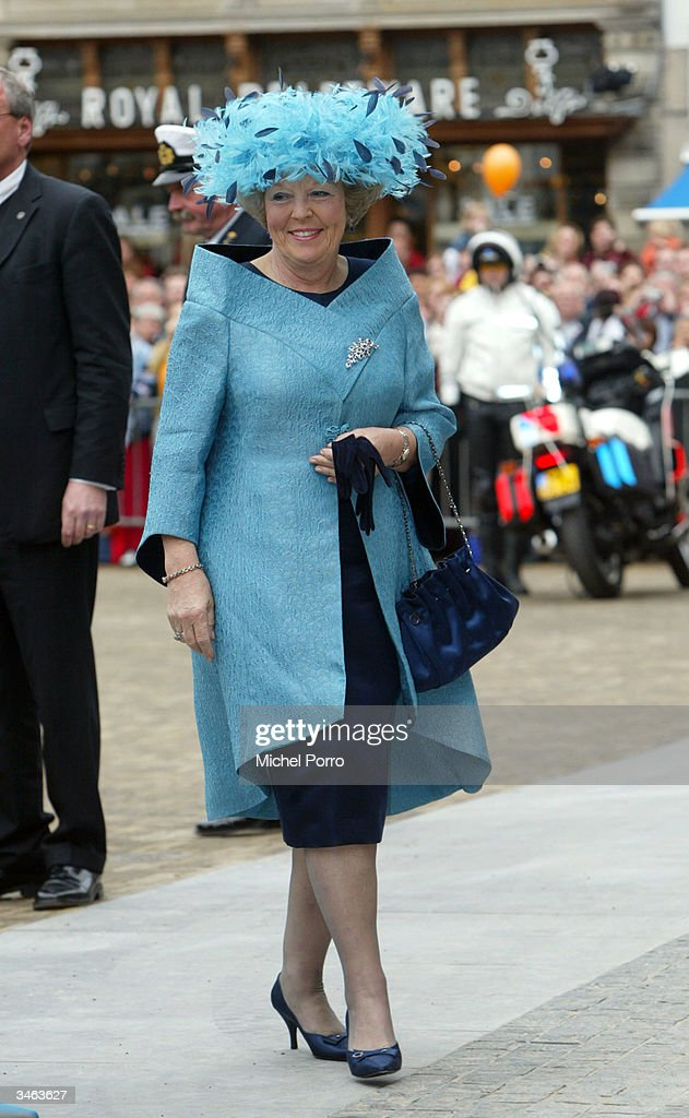 Dutch Queen Beatrix arrives for the wedding of her second son, Prince Johan Friso and Mabel Wisse Smit at the at the City Hall on April 24, 2004 in Delft, the Netherlands. The Dutch government, required by the constitution to approve royal marriages, refused to sanction this match because Wisse Smit had formerly had a relationship with the late gangster Klaas Bruinsma. The Prince thus gives up his claim to the throne, but does retain his royal title of Prince Of Oange-Nassau.