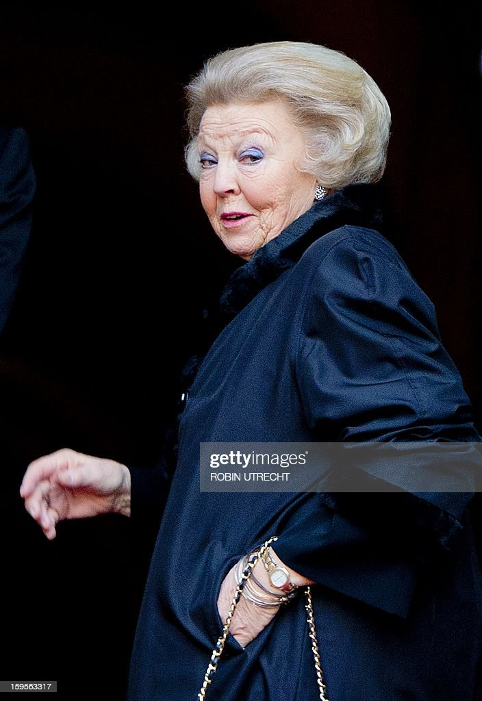 Dutch Queen Beatrix arrives to take part in her traditional New Year's reception, given for members of the diplomatic corps in the Dam Palace in Amsterdam, on January 16, 2013.