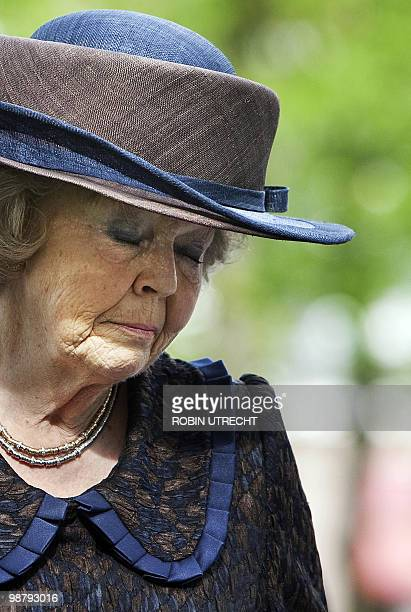 Dutch Queen Beatrix closes her eyes on April 29 2010 in Apeldoorn during the ceremony for unveiling the monument of remembrance for the victims of...
