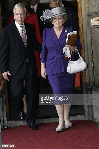Dutch Queen Beatrix leaves the parliament building after Princess Maxima had taken seat for the first time in the 'Raad van State' the advisory body...