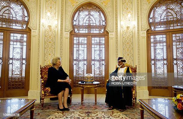 Dutch queen Beatrix meets sultan Qaboos in his royal palace in Muscat on March 8 2011 The queens 3 day visit was shortened due to massive...
