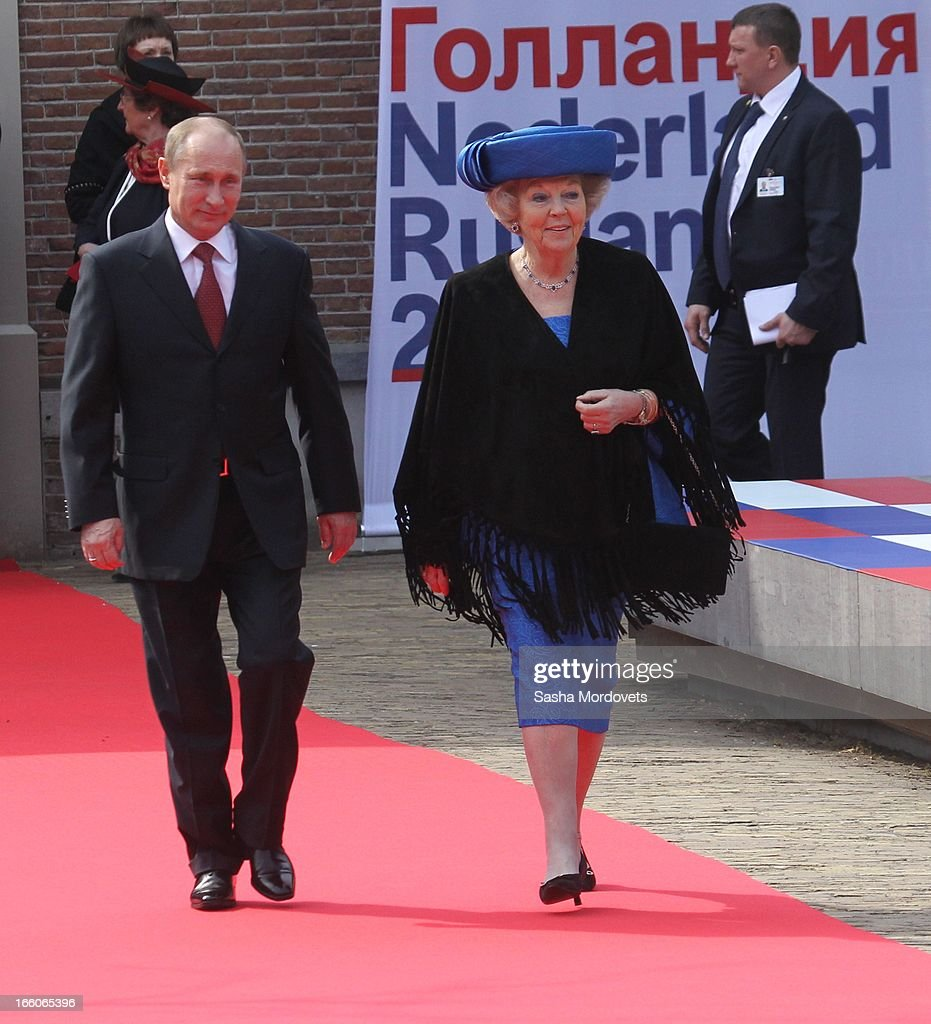 Dutch Queen <a gi-track='captionPersonalityLinkClicked' href=/galleries/search?phrase=Beatrix+of+the+Netherlands&family=editorial&specificpeople=92396 ng-click='$event.stopPropagation()'>Beatrix of the Netherlands</a> (R) walks with Russian President <a gi-track='captionPersonalityLinkClicked' href=/galleries/search?phrase=Vladimir+Putin&family=editorial&specificpeople=154896 ng-click='$event.stopPropagation()'>Vladimir Putin</a> as they attend Tsar Peter Exhibition April 8, 2012 in Amsterdam, Netherlands. Putin began a one-day state visit to the Netherlands at the invitation of Queen Beatrix.