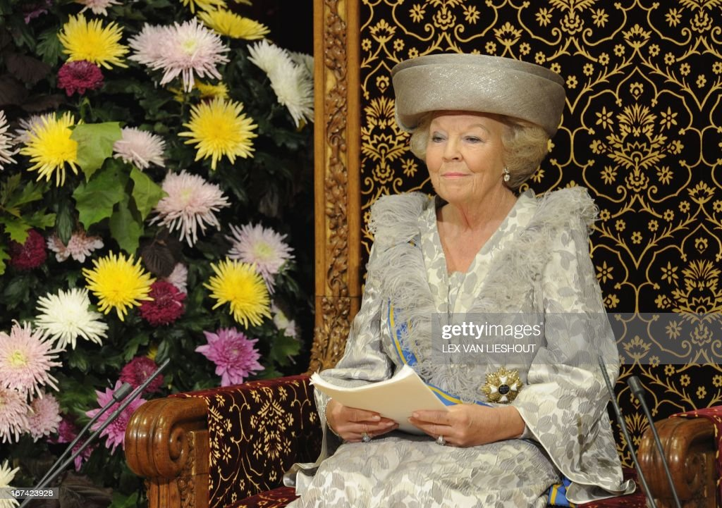 Dutch Queen Beatrix reads the Speech from the Throne during Budget Day in the Ridderzaal in The Hague, on Tuesday, September 20, 2011. With the annual queen speech, the Dutch Queen Beatrix presented the coming financial year. Due to be released September 16 in the afternoon, the budget was posted online by an employee of an external company and picked up by a Dutch journalist, who then posted a link on Twitter a day early.