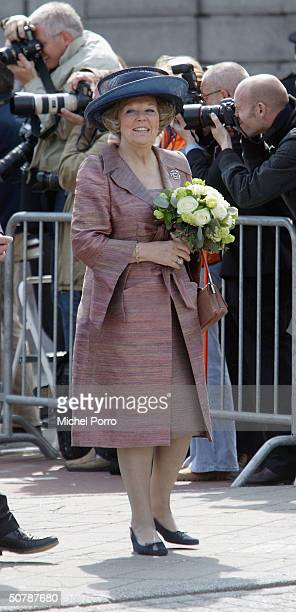 Dutch Queen Beatrix smiles during her birthday celebrations April 30 2004 in Groningen The Netherlands April 30 was the birthday of former Queen...