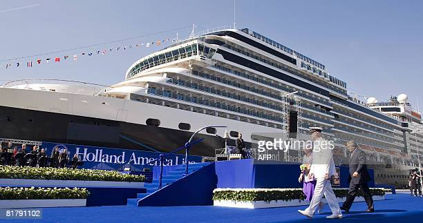 Dutch Queen Beatrix walks prior christening the MS Eurodam ship the 14th cruiseship of the Holland America Line on July 1 2008 in Rotterdam The ship...