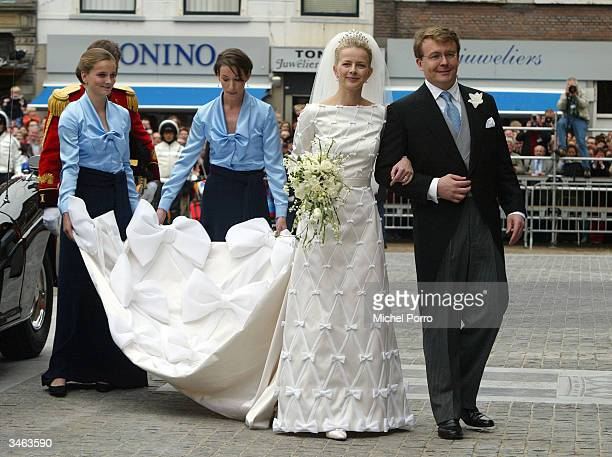 Dutch Queen Beatrix's second son Prince Johan Friso and Mabel Wisse Smit arrive at the at the City Hall on April 24 2004 in Delft the Netherlands The...