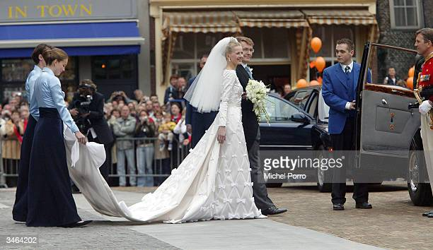 Dutch Queen Beatrix's second son Prince Johan Friso and Mabel Wisse Smit leave the City after the civil ceremony hall on April 24 2004 in Delft The...