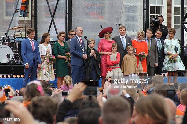 Dutch Queen Maxima and King WillemAlexander give speech as they greet the public during King's Day celebrations on occasion of the birthday of the...