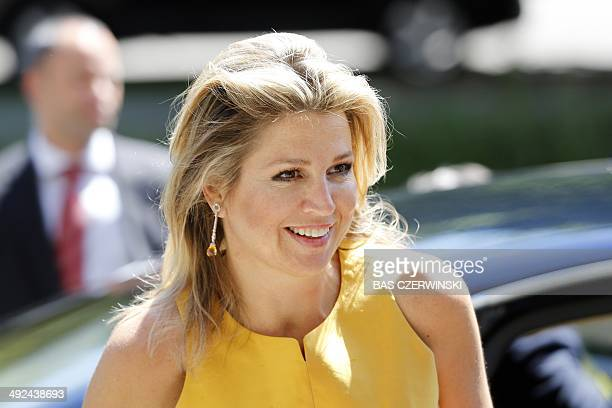 Dutch Queen Maxima arrives at the Institute of Social Studies to attend a speech by Nigerian Prince Claus chairholder Jumoke Oduwole in The Hague on...