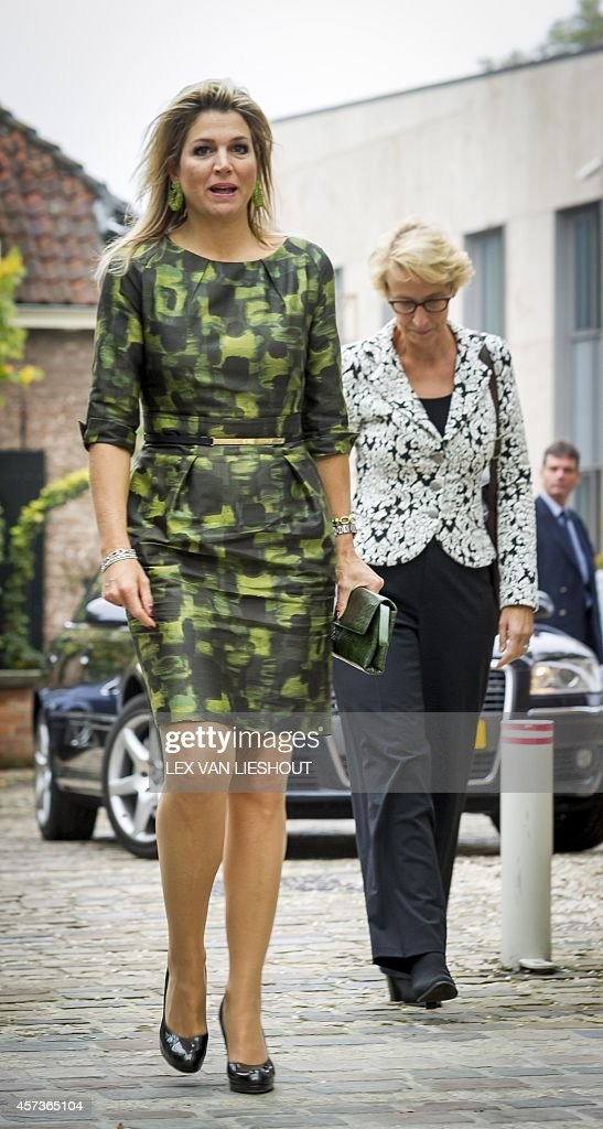 dutch-queen-maxima-as-patron-of-the-orange-fund-arrives-for-a-visit-picture-id457365104