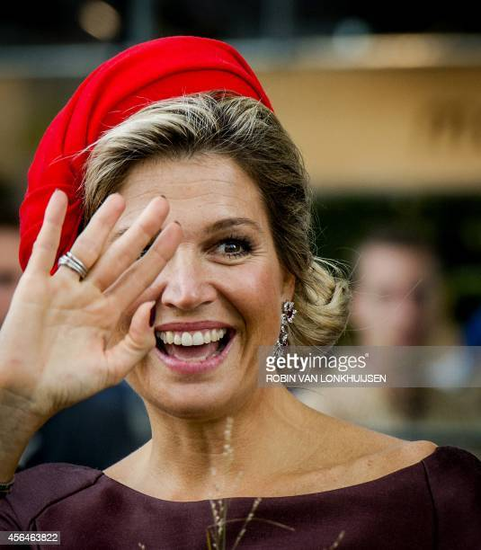 Dutch Queen Maxima attends the opening of the Rotterdam Market Hall the first Dutch covered fresh market hall in Rotterdam The Netherlandson October...