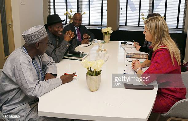 Dutch Queen Maxima holds a bilateral meeting with Nigerian President Goodluck Jonathan in The Hague on March 25 2014 on the sidelines of the Nuclear...