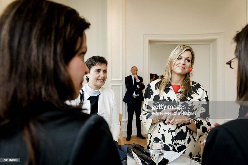 Dutch Queen Maxima looks on during the event Inspiring Perspectives at the Mauritshuis in The Hague on May 25, 2016. This meeting is organized by Inspiring Fifty, a non-profit organization established with the aim to inspire women to choose a career in technology. / AFP / ANP / Robin van Lonkhuijsen / Netherlands OUT