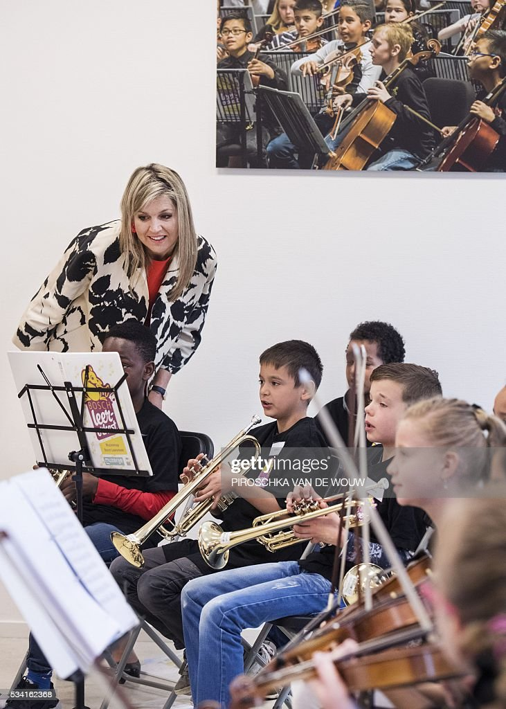 Dutch Queen Maxima looks on during the start of NPO Radio 4 Classic and the fundraising of music instruments for children in Den Bosch, The Netherlands on May 25, 2016,. / AFP / ANP / Piroschka van de Wouw / Netherlands OUT