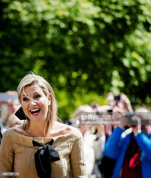 Dutch Queen Maxima smiles as she leaves the De Bolder elderly home after she attended a piano concert in honor of the 'Music in the House' foundation...